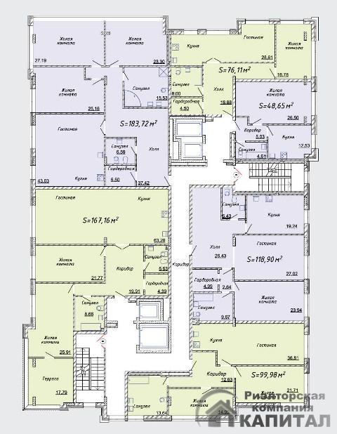 Двухкомнатная квартира в доме клубного типа